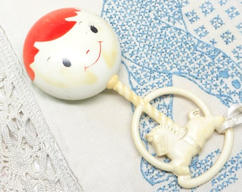 1930's Antique Blue Baby Celluloid Rattle, with Horse