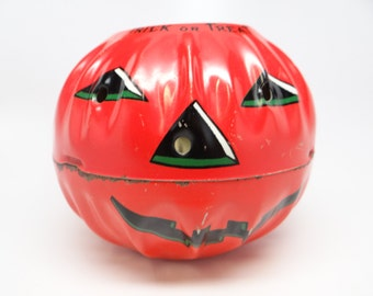 Vintage Tin Halloween Jack O Lantern, Antique Candy Container, US Metal Toy Mfg Co, USA