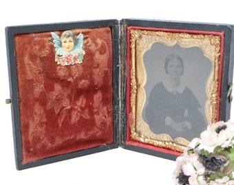 Antique Tin Type Photo Daguerreotype of Woman, in Case