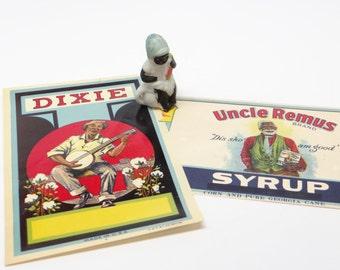 Vintage Afro American Black Memorabilia, Bisque Boy, DIXIE Label, Uncle Remus Syrup Label