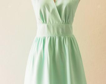 Mint Green Dress, Dress Long, Cocktail Dress Pastel Dress Bridesmaid Dress, Dress with Pockets Option, Plus Size Custom Made- XS-XL,custom