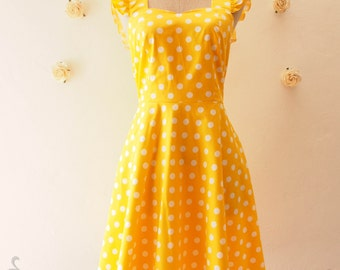 SALE Yellow Vintage Style Casual Dress 50's Inspired Polka Dot Dress Women Short Cotton Dress Yellow Dancing Swing Dress Party Dress-XS,S