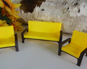 Vintage plastic doll furniture sofa and two chairs