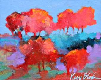 "Original Landscape Painting, Small Abstract Trees, Colorful Wall Art ""One Day in September"" 8x10"""