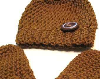 Newborn merino wool fall hat and thumbless mittens set.  Ready to ship newborn winter hat and mittens.  Baby shower gift, newborn size fall.