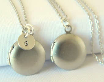 Silver Round Initial Locket  Personalized Necklace