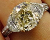 Estate Vintage GIA 5.13ct Natural Fancy Yellow Cushion 3 Stone Diamond Engagement Anniversary Ring