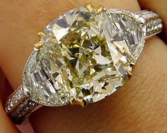 Estate Vintage GIA 5.13ct Natural Fancy Yellow Cushion 3 Stone Diamond Engagement Anniversary Ring