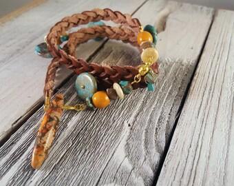 Turquoise & Orange Beaded Braided Leather Wrap Bracelet