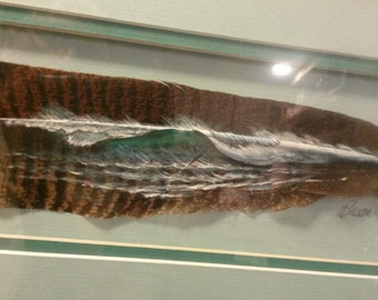 Hand Painted Feather - Seascape on Turkey Feather - One of a Kind