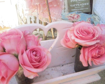 Shabby chic pink  French Vintage wood carrier Shabby chic prairie cottage chic