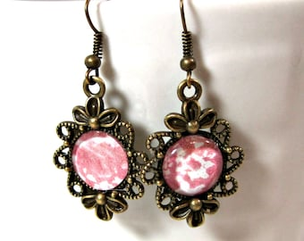Pink and  Bronze Filigree Dangle Earrings