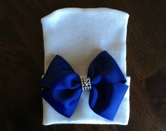 Newborn Hospital Hat for Girls Navy Blue Bow (infant hat, newobrn hat with bow, hospital hat, newborn girl hat, infant beenie)