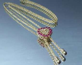 Vintage 10k Ruby & Diamond Heart Lariat Drop Rope Necklace