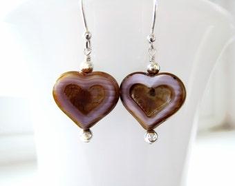 Czech Glass Heart Earrings Valentines DayHeart Jewelry Lavender Earrings Valentine Jewelry Romantic Gift Idea For Her
