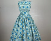 Vintage 1950s Cotton Dress 50s Blue Floral Striped Full Skirt Dress Size 8M