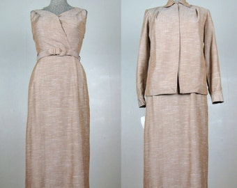 Vintage 1940s 1950s Dress & Jacket Set 40s 50s Rayon Linen Set by DeDe Johnson NOS Size 4/6 S