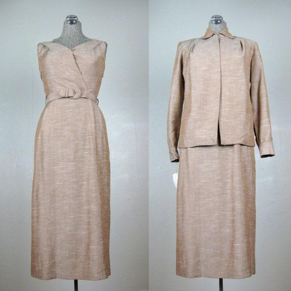 Vintage 1940s 1950s Dress & Jacket Set 40s 50s Rayon Linen Set by DeDe Johnson NOS Size 4/6 S
