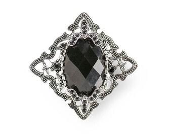 Black Brooch, Faceted Glass, Art Nouveau, Silver Brooch, Black Glass, Oval