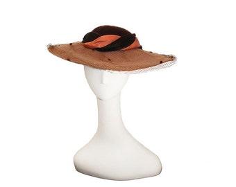Brown Hat, Whittall & Javits, Wide Brim, Black Velvet, Silk Hatband, in Orange and Black, Netting, Hat Size 22
