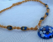 Hemp Necklace in Gold & Blue, macrame hippie necklace with glass beads