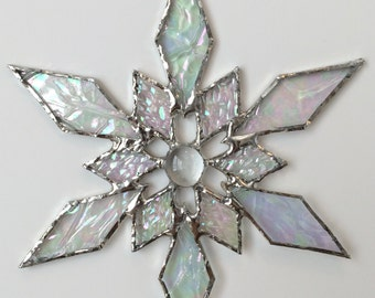 stained glass snowflake suncatcher (design 31C)