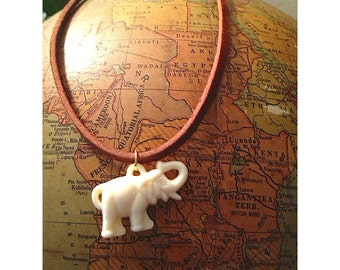 White Elephant Choker is a Vintage Gumball Pachyderm on a Leather Cord