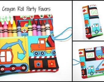 Crayon Rolls Party Favors,  Big Trucks, Dump Trucks, Cars, holds 10 Crayons, Monster Trucks Birthday Party Crayon Roll Favors