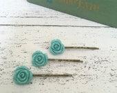 Set of three blue rose hair slides on bronze bobby pins - vintage style kirby grips - wedding hair - bridesmaid hair - retro blue vintage