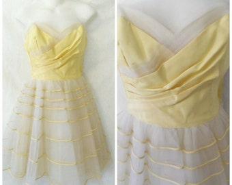 Vintage Will Steinman '50s Prom Dress Formal Altered Mini Length Striped Tulle Sweetheart Lemon Yellow Taffeta Size XXS / 0 or Girls L / 10