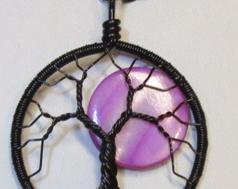 Tree of Life, Purple Full Moon Wire Wrapped Tree of Life, Purple and Black Jewelry