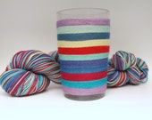 Self Striping Fingering Weight Sock Yarn, Wool and Nylon, 10 Color Stripe, Hand Dyed, Sookie