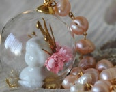 Doll Maker: Porcelain Bisque Doll Head Bust Glass Globe Necklace with Freshwater Pearls