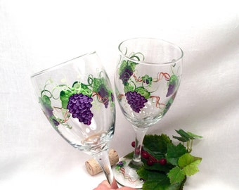 Purple grape hand painted set of two wine glasses