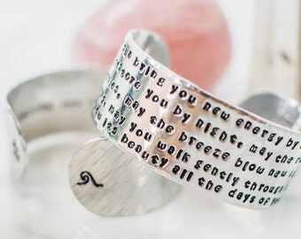 """Customize a 1"""" Aluminum cuff bracelet, customizable quote bracelet, christmas gift, personalized gift, zenned out jewelry,  zennedout"""