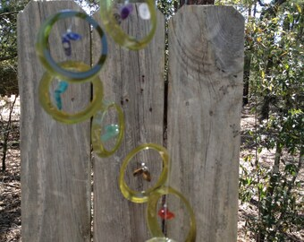 GLASS WINDCHIMES from RECYCLED bottles, chakra wind chimes, eco friendly, metaphysical, mobiles, windchimes, glass wind chimes, glass