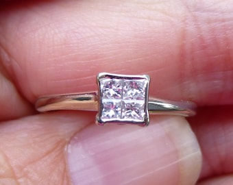 Diamond Solitaire 1/4Carat princess cut  14K White Gold Ring  Faces up like a one carat stone  Classic Engagment Ring