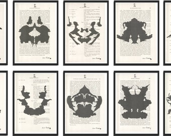 10 Prints Doctor Psychology Psychiatry Black and White or GOLD Hermann Rorschach Inkblot Gift Health Dictionary Vintage Upcycled Book Art