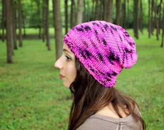 Pink Hat Adult Knit Beanie Womens Knitted Hats Handmade Cap Slouchy Skull Hat Crochet Accessories Autumn Fashion Knitting Gifts Hot Pink