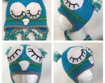 Sleepy owl hat 2-5y