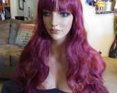SPRING SALE - Burgundy Wine - Deep Red - Long Wavy - Short Bangs - Durable Wig - Hair Piece - Hair - Emo - Rockabilly - Cosplay - Daily Wear