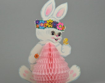 Vintage Beistle Easter Bunnies, Honeycomb Easter Decorations, 2 Groovy Flower Power Three Dimensional Centerpieces made in the USA