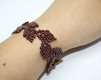 Burgundy Bracelet, Leaves Bracelet, Floral Bracelet, Romantic Bracelet, Red Bracelet, Dark Bracelet, Evening Bracelet