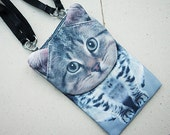 Tabby cat, cross body phone case, cat bag, smartphone bag, iPhone 4s bag, iPhone 5 or 6 bag, Note 3 bag, cat purse, SP-03