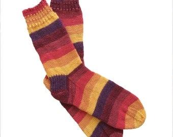 Socks, Hand Knit Unique Socks, Striped Socks, Boho Socks, Men Women Socks, Bohemian Socks, Colorful Sox, Hipster Socks, MADE TO ORDER