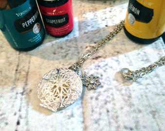 Diffuser Necklace - for use with Essential Oils - Round Sliver w/ flower charm