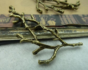 10pcs 30*60mm antique bronze branch  leaf  charms pendant C6015
