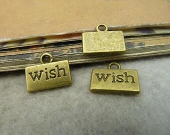 50pcs 10*13mm antique bronze wish letter charms pendant C5001