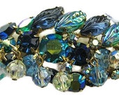 "Weiss Brooch Signed Green Blue Givre Rhinestones & Crystal Beads Gold Metal 3"" Vintage"