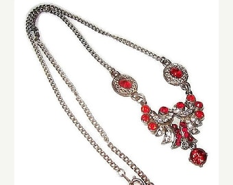 "Czech Bib Necklace Red Rhinestones Silver Cast Metal Art Deco Holidays 18"" Vintage"